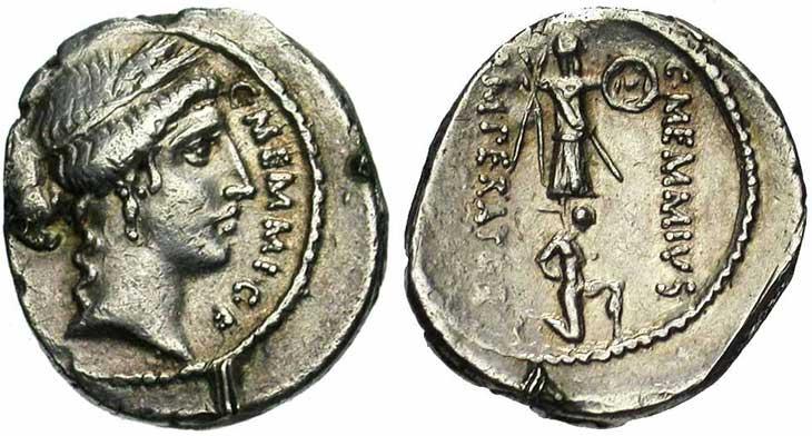 Denier de la république romaine trophée et captif