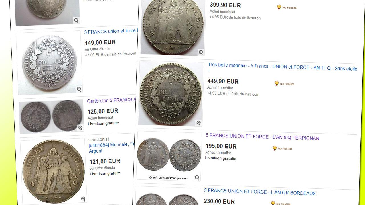 Quelques exemples de prix de vente de pièces de 5 francs Union et Force