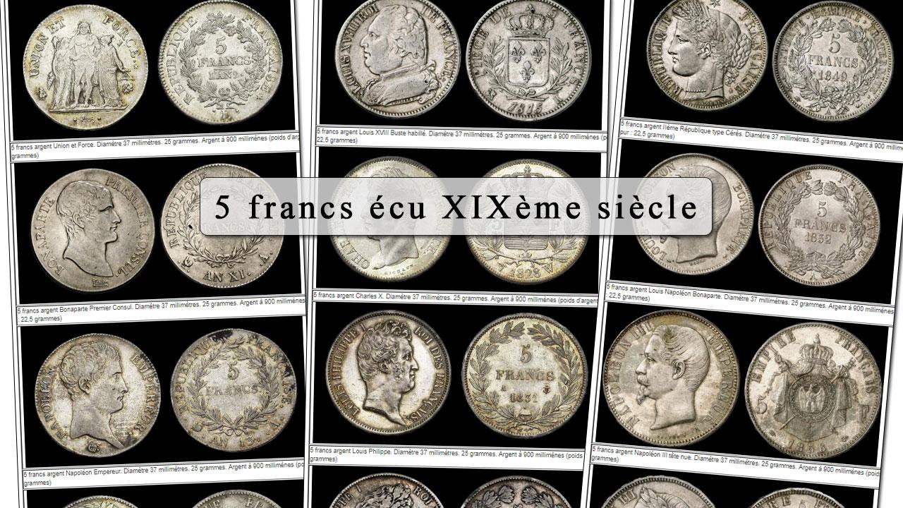 Exemples de pièces d'argent de 5 francs écu du XIXème siècle