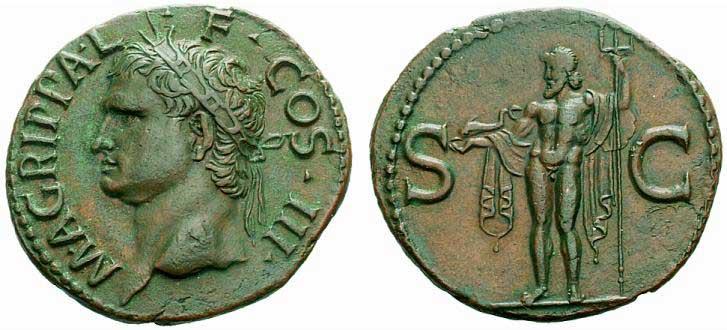 Exemple de représentation d'un dauphin sur une monnaie romaine de Caligula