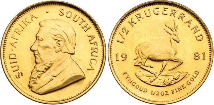 AFRIQUE DU SUD, 1 demi Krugerrand, 1974. Le demi Krugerrand est une monnaie d'Afrique du Sud de 16,97 grammes d'or