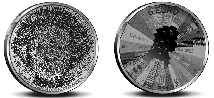 Photo de la pièce de 5 euros commémorative des Pays Bas sur le thème de l'architecture