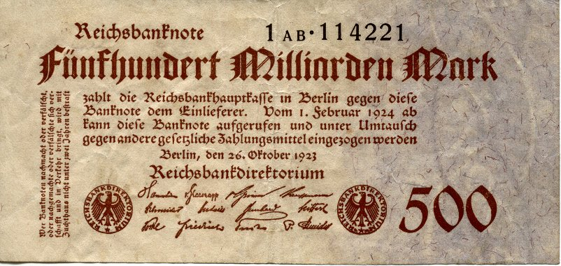 Verso d'un billets de 500 milliards de marks émis mis par  la Reichsbankhauptkasse de Berlin en septembre et octobre 1923, pendant la période d'hyperinflation qui a suivi la défaite militaire face à la France (photo www.nithart.com)