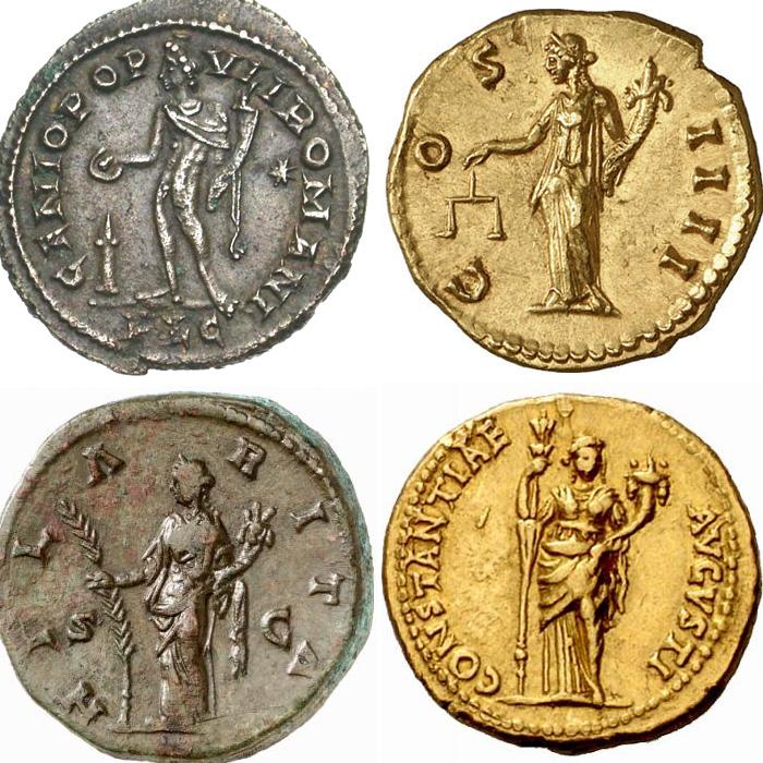 Exemples de représentation de cornes d'abondance associées à des personnifications sur des monnaies romaines