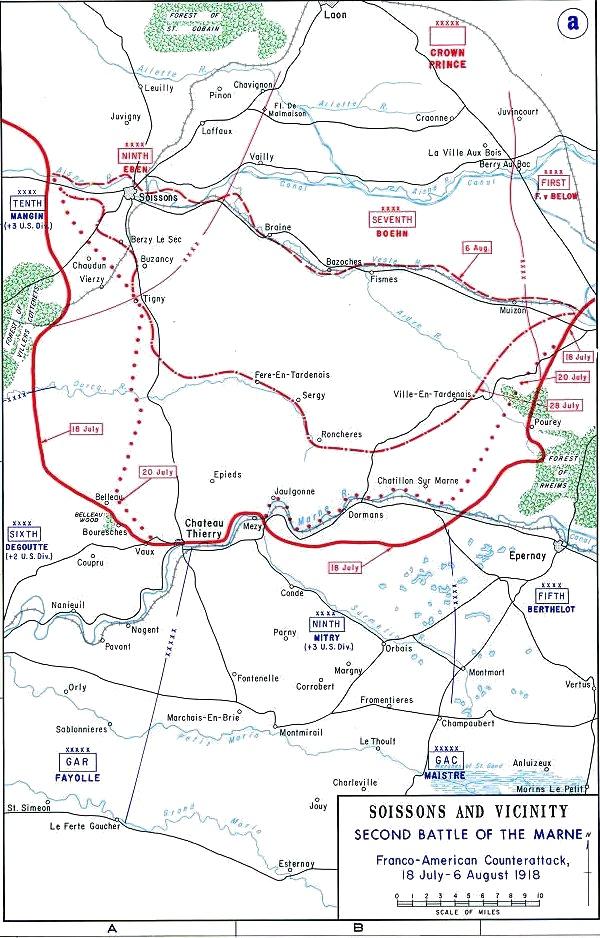 Carte de la deuxième bataille de la Marne : les troupes allemandes occupaient une position