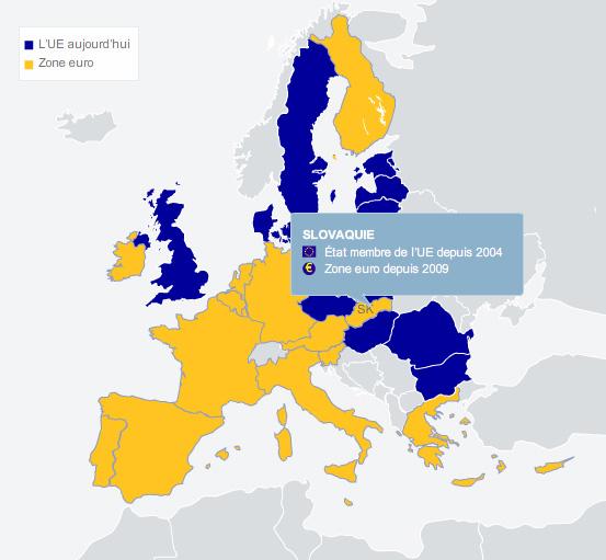 Carte de la Slovaquie en Europe
