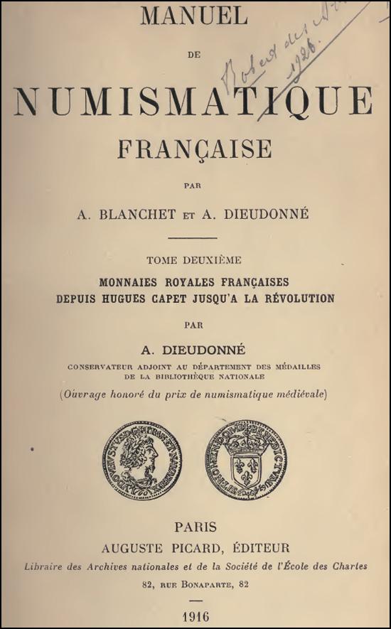 Couverture livre numismatique Adrien Blanchet