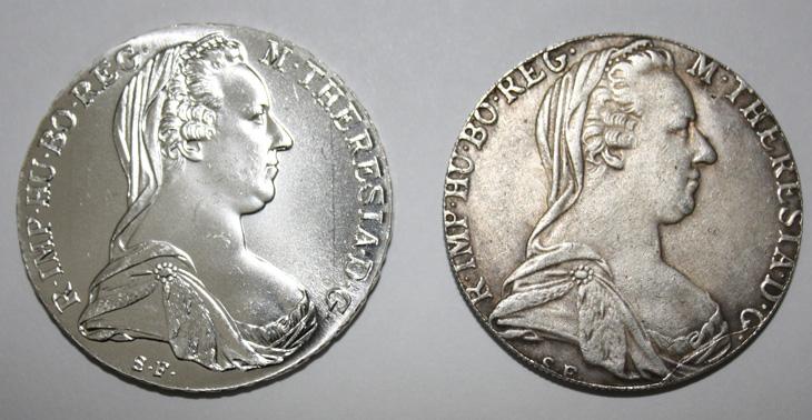 Deux thalers de Marie Thérèse : un vrai et un faux