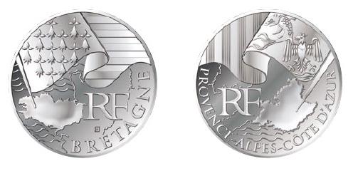 Exemple d'euros des régions, les nouvelles pièce de 10 euros de la Monnaie de Paris