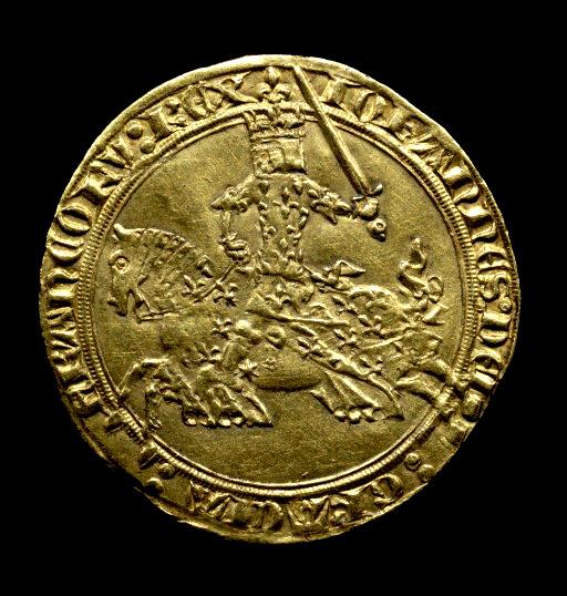 1. Avers d'un Franc d'Or de Jean le Bon. Cliché BNF.
