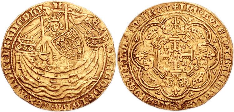 3. Noble d'Or d'Edouard III (7.59 grammes), frappé à Londres vers 1354-1355. C'est après la bataille navale de l'Ecluse (1340) que l'Angleterre a pris l'ascendant sur les mers, ce qu'illustre cette monnaie.