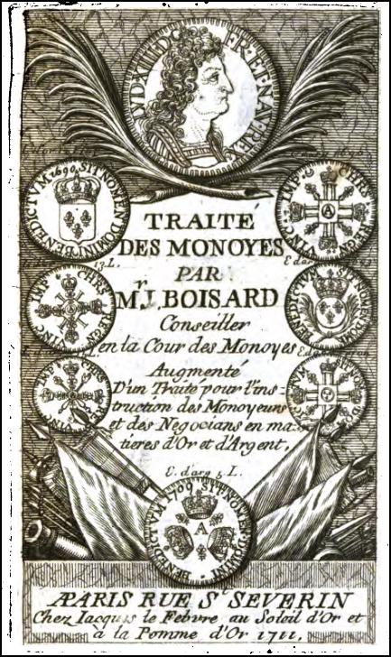 Frontispice du Traité des monnaies de Boizard (1711)