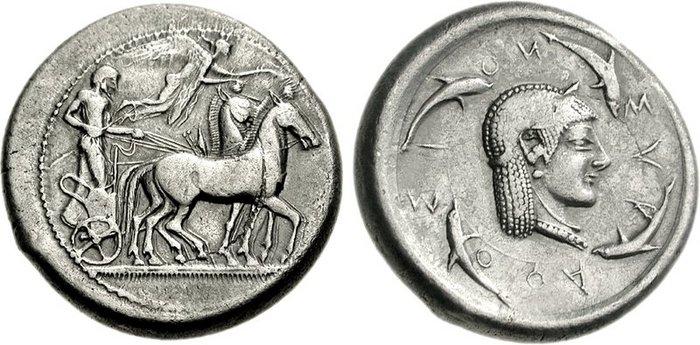 Image de dauphin sur une monnaie grecque de Syracuse