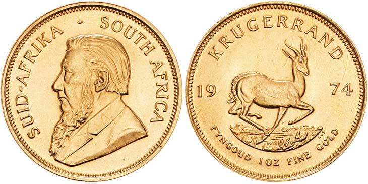 AFRIQUE DU SUD, 1 Krugerrand, 1974. Le Krugerrand est une monnaie d'Afrique du Sud de 33,93 grammes d'or