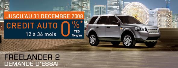 Publicité Land Rover Crédit à 0%