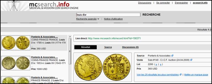 mcsearch.info, site spécialisé dans l'identification des monnies