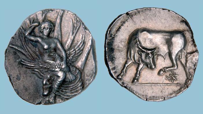 cette monnaie grecque antique de Gortyna en Cr�te a battu un record mondial