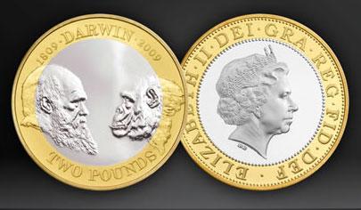 Darwin, un singe, et la reine d'Angleterre sur une monnaie de 2 livres sterling