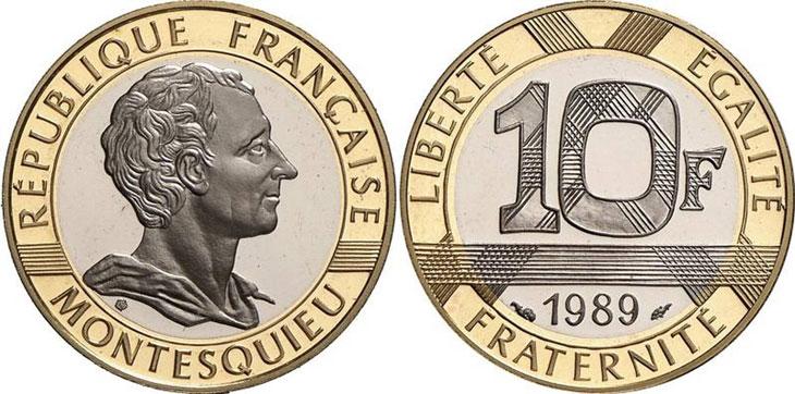 Pièce de 10 francs commémorant Montesquieu