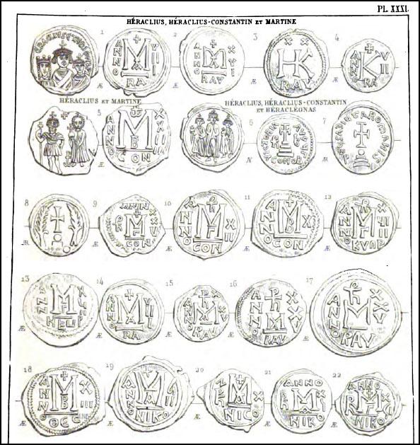 Planche de monnaies byzantines extraite du Catalogue de Justin Sabatier