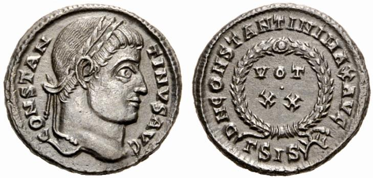 Voeux sur une monnaie de l'empereur Constantin Ier