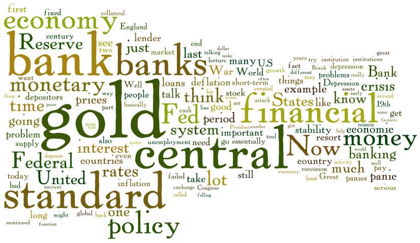 Mots utilisés dans le discours de Ben Bernanke sur la création de la Réserve Fédérale
