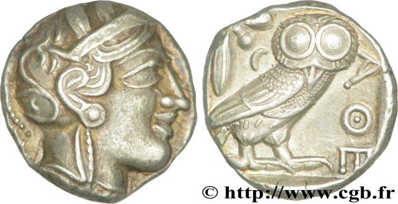 Exemple de monnaie de la vente sur offres n°36 de la CGB : une chouette d'Athènes