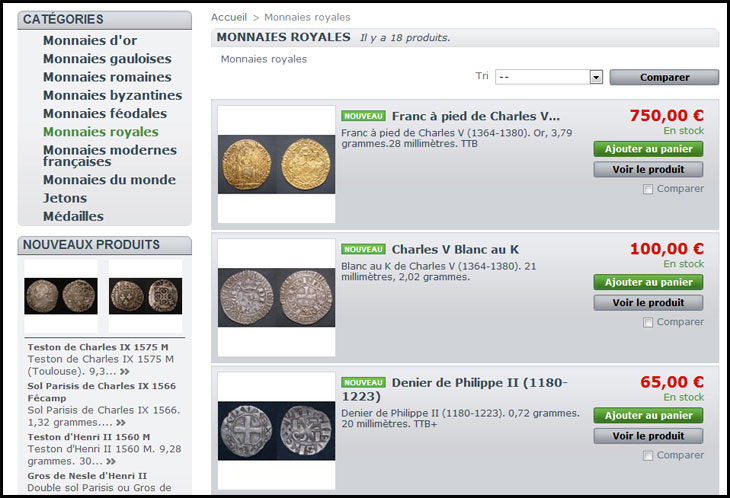 Capture d'écran boutique sacra-moneta