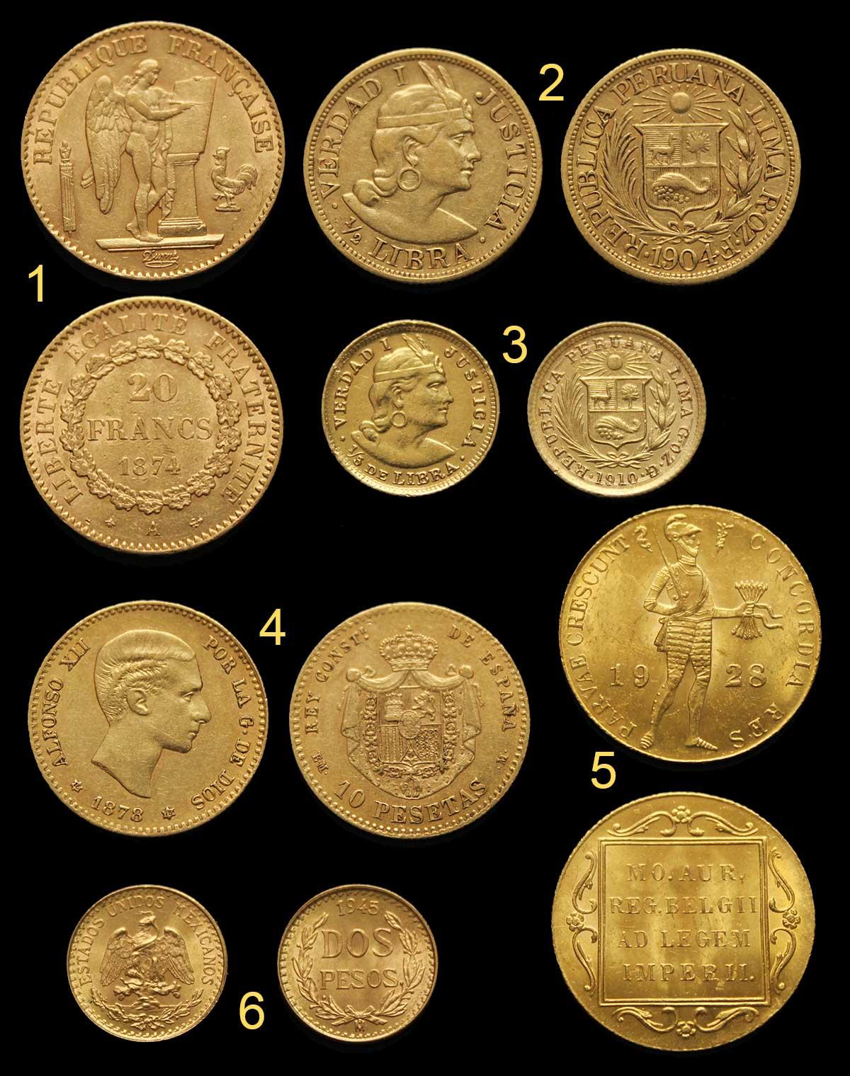 Photo des quelques nouvelles pièces d'or en vente : 20 francs or Génie, 10 pesetas or Alphonse XII 1878, demi libra Pérou, 5eme de libra du Pérou, Ducat des Pays-Bas, 2 pesos du Mexique