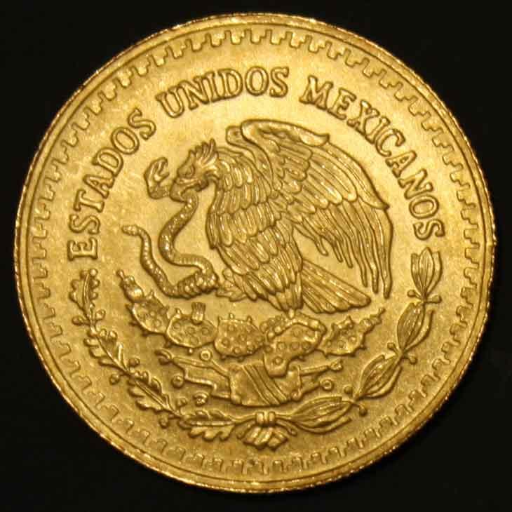Une des nouvelles pièces d'or en vente : pièce d'un quart d'once d'or pur du Mexique