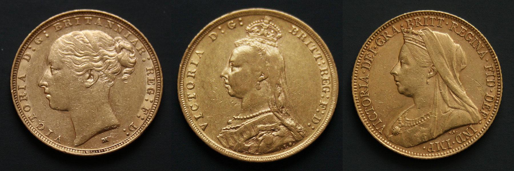 Image de trois portraits de la reine Victoria sur des souverains d'or