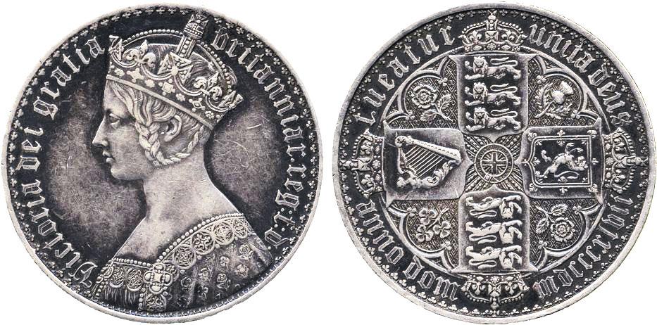 Portrait Gothique de Victoria sur une monnaie d'argent
