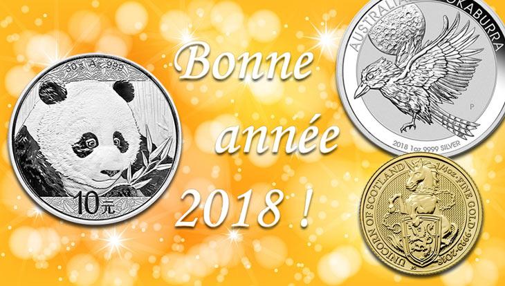 Meilleurs voeux 2018 Sacra-moneta, numismatique et monnaies de collection. Quelques pièces d'argent en illustration