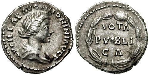 De très nombreuses mentions de voeux sont représentées sous forme de texte, comme c'est le cas sur le revers de ce denier de Lucilla (femme de Lucius Verus), frappé en 161 après JC. Photo CNG