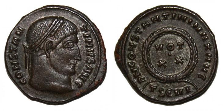 Voeux sur une monnaie de Constantin Ier