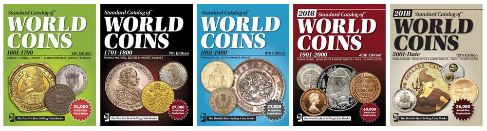 Photo des couvertures des 5 volumes de la série de Catalogues World coins, répertoriant les pièces de monnaie de collection de 1600 à nos jours