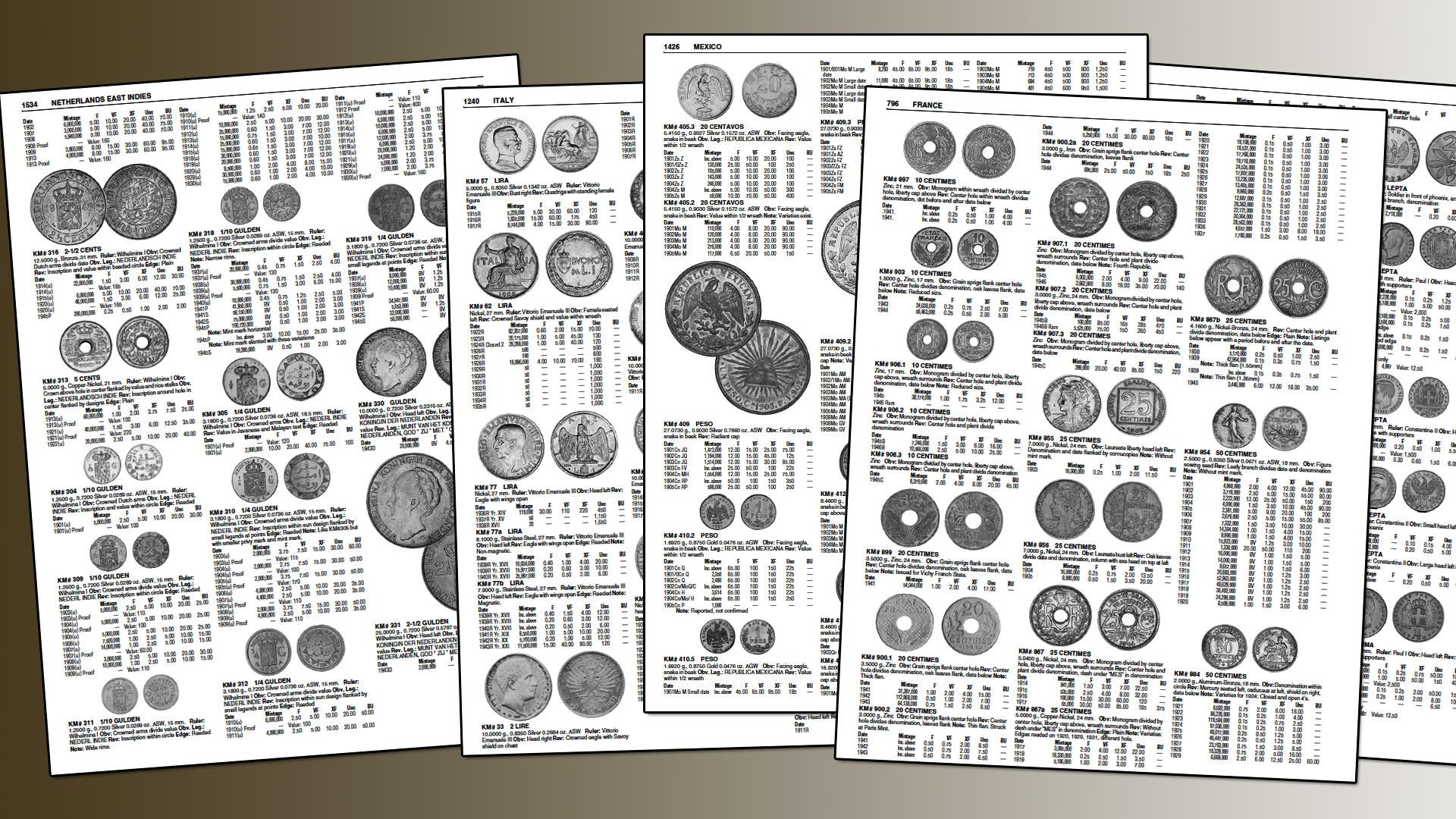 Quelques pages des World coins : les catalogues contiennent des milliers de pièces de monnaies