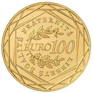 pièce de 100 euros or de la Monnaie de Paris (revers)