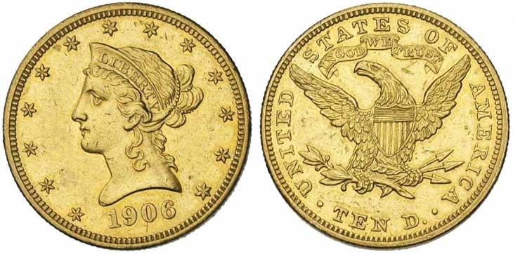 ETATS-UNIS, AV 10 dollars, 1906, Ref.: Fr., 158; K.M., 102. Petits coups. Photo J. Elsen