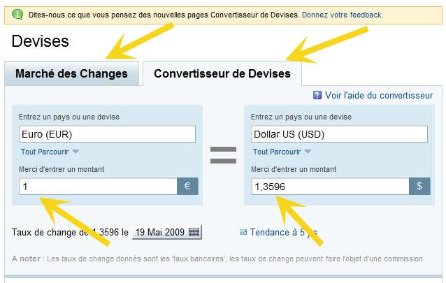 Image du convertisseur de monnaies de Yahoo