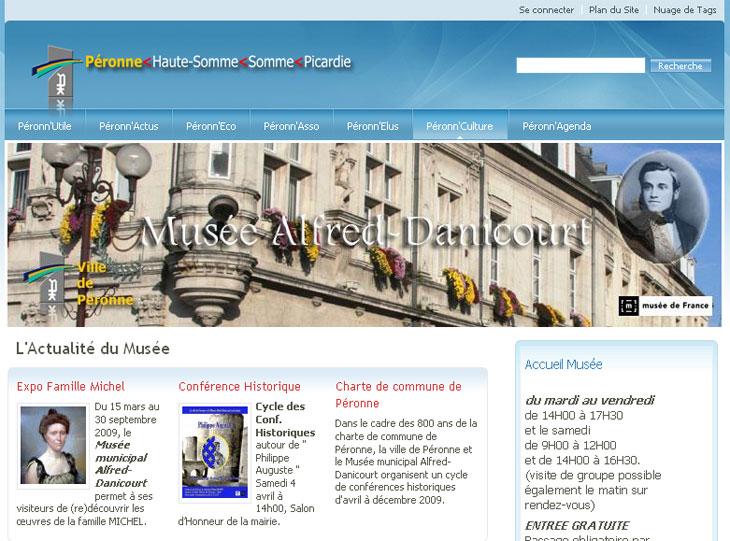 Capture d'écran de la page d'accueil du Musée Danicourt à Péronne