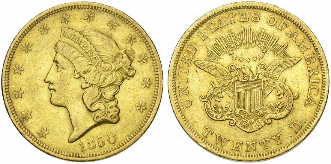 ETATS-UNIS, AV 20 dollars, 1850, Première date du type. Ref.: Fr., 169. Photo J. Elsen