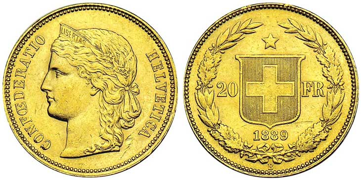 SUISSE, AV 20 francs, type Helvetia. 1889. Photo Stack's