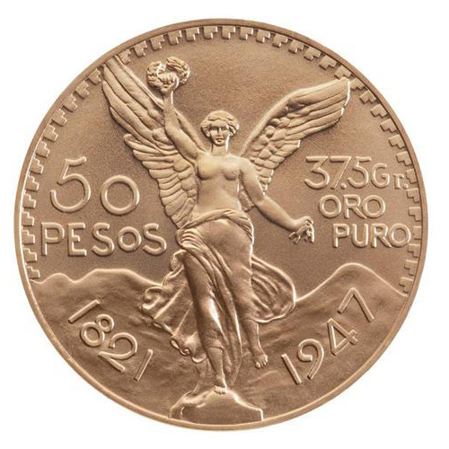 50 pesos or Mexique : revers