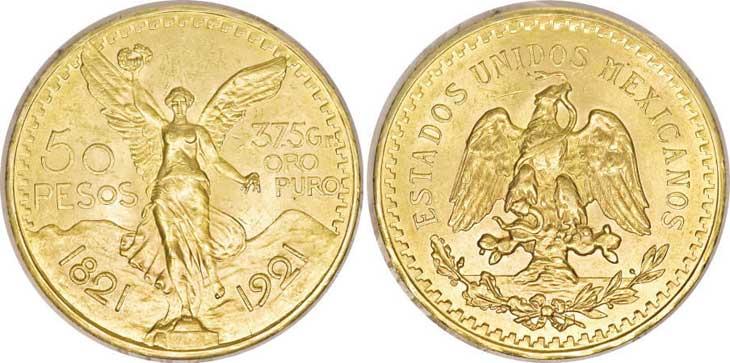 Pièce cotée : 50 pesos or Mexique