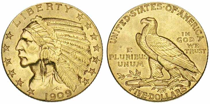 ETATS-UNIS, AV 5 dollars, 1909 D, Denver. Tête d'Indien. Ref.: Fr., 151; K.M., 129.. Photo J. Elsen