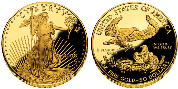 Pièce américaine d'une once d'or dite American Eagle