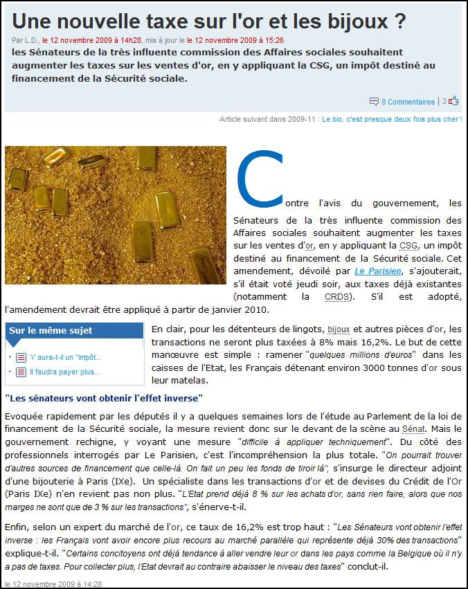 Article sur la taxe sur l'or sur le site de LCI