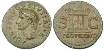 Exemple de monnaie romaine en bronze (As d'Auguste divinisé)