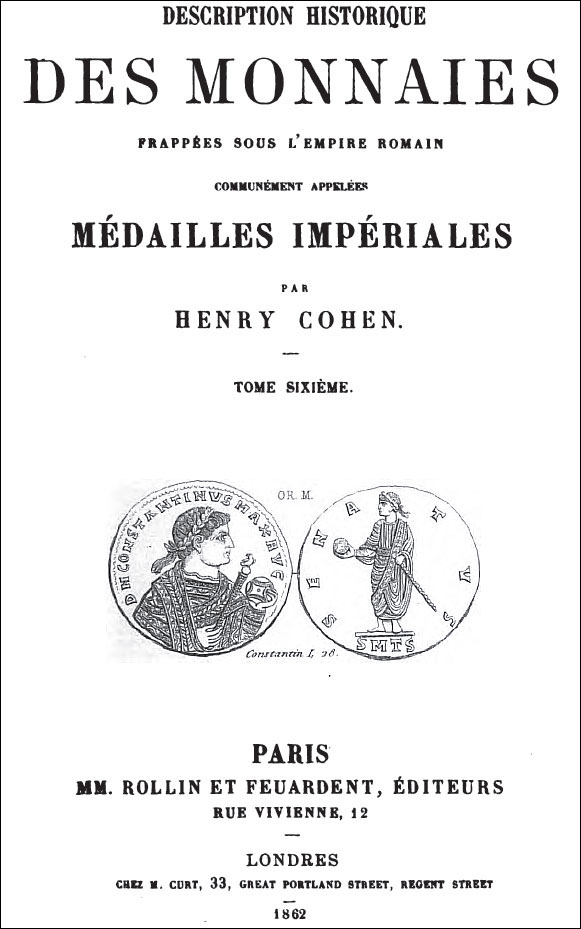 Couverture d'un des volumes de la Description des monnaies romaines d'Henry Cohen